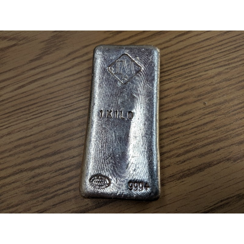 Kilo Silver Johnson Matthey Hand Poured Bar Chrome Look